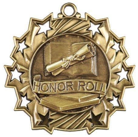 Decade Awards Gold 10 Star Honor Roll Goldmedaille mit rot-weißem und blauem Halsband, 5,7 cm Durchmesser
