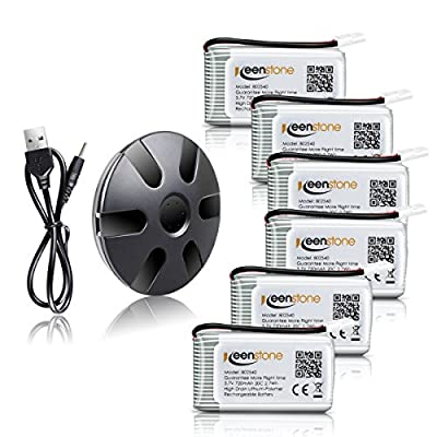 Keenstone 6Pcs 720mAh 20C battery with 6-Port Quick Charger for Syma X5 X5C X5SW X5C X5C-1 & Cheerson CX-30W Quadcopters, Overcharge protection and Faster Charging Speed