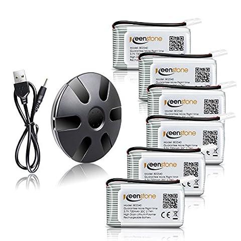 Keenstone 3.7V 720mAh 20C Lipo Batterie +6 Port Schwarz Akku