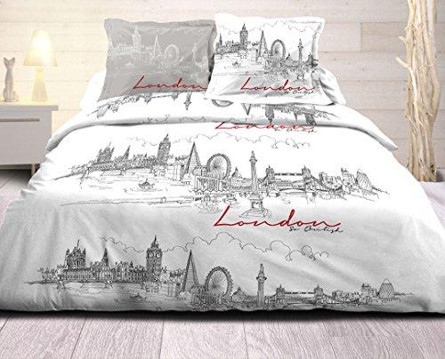 douceur de nuits Parure de Couette London, Coton, Multicolor, 240x220x0,1 cm