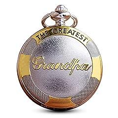 Idea Regalo - Gorben quarzo argento oro nonno da tasca con catena per gli uomini + scatola