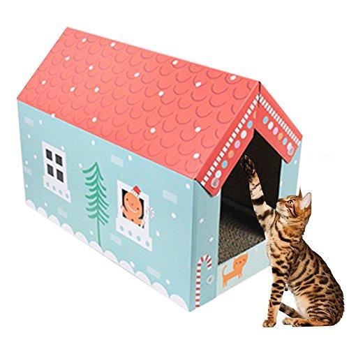 Purebesi Kratzspielzeug aus Karton, Gewelltes Spielzeug Zum Kratzen, mit Modell Eines Hauses, für Katzen