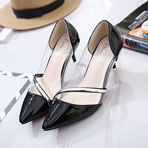 Damen Pumps Lackleder Transparent Spitz Zehen High-Heels Slip on OL Einfach Elegant Leicht Bequem Büro Freizeit Stiletto Schwarz
