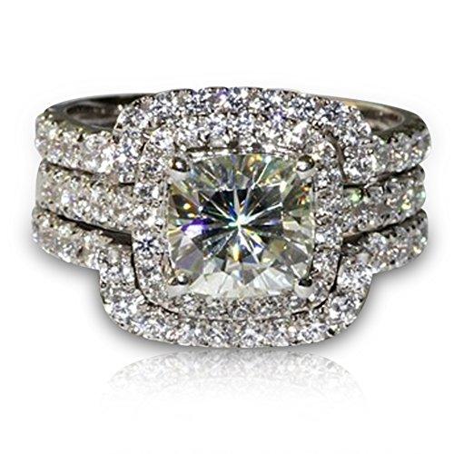 Vorra Fashion  -  925 Sterling-Silber  Sterling-Silber 925 Cushion Shape   weiß Oxyde de Zirconium  (Engagement Diamond Cushion Cut)