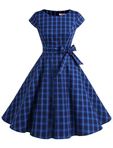 tage 50er Cap Sleeves Dot Einfarbig Rockabilly Swing Kleider Marineblau mit Karos L ()