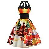Tatis Damen Rock Weihnachtskleid Drucken hängenden Hals ärmellose Retro Taille Pettiskirt EIN Wort Rock Lange Urlaub Kleid Tanzrock