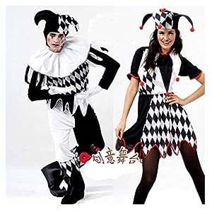 Costume Arlequin Jester Clown Cirque Costume et chapeau Halloween Tenue vestimentaire drôle