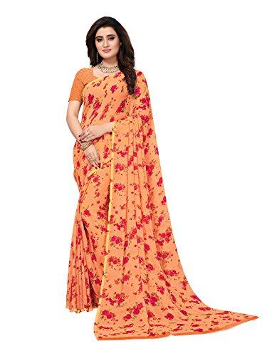Kanchnar Women's Orange Color Georgette Printed Saree-758S157