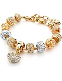 Yellow Chimes Crystal Gold Plated Heart Charm Bracelet for Women (Gold)(YCFJBR-600HRT-GL)
