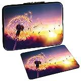 PEDEA Design Schutzhülle Notebook Tasche bis 15,6 Zoll (39,6cm) mit Design Mauspad, Dandelion