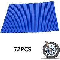 """72pcs / lot fundas de radios azules cubiertas Motocicleta de motocross universal MX Enduro fuera de la llanta de la rueda envuelven envueltas cubiertas de pieles para 19 """"-21"""" llantas YAMAHA YZ125 YZ250F YZ450F WR250F DT230 TC125 TC250 WR125 FE250 Pit Dirt Bike"""