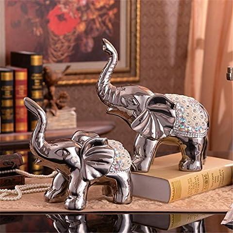 Processus de Placage de style européen éléphant une paire Décoration Creative Ceramics Décorations Salon Mesa Vin Armoire Meuble TV Décoration