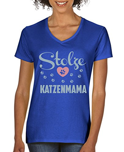 Comedy Shirts - Stolze Katzenmama - Damen V-Neck T-Shirt - Royalblau / Eisblau-Rosa Gr. M