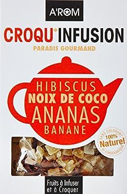 A-Rom Croqu'Infusion - Paradis Gourmand - Fruits à infuser et à croquer - Hibiscus/Noix de coco/Ananas/Banane