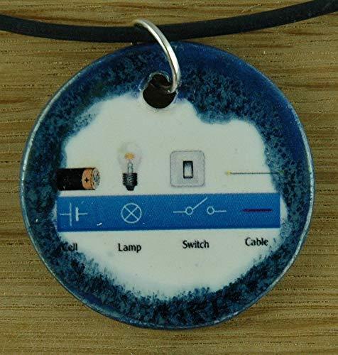 Echtes Kunsthandwerk: Toller Keramik Anhänger: Elektrizität, Stromkreis, Elektrik, Physik, Physiklehrer, Physikunterricht, Lehrer