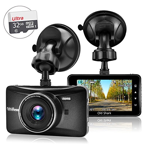 Dash Cam with 32GB Card,OldShark 1080P FHD Driving Video Recorder Metal Shelled Car Dashboard Camera Built in G-Sensor,Night Vision,Parking Monitor,Motion Detection,Loop Recording,170 Wide Angle View