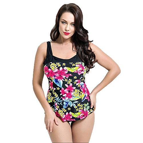 Frauen Plus Plus Bikini Push On Blumen Einteiler Badeanzug Marine Schwarz Black