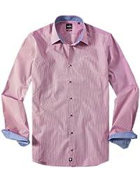 Strellson Premium Herren Hemd Baumwolle Oberhemd gestreift, Größe: 39, Farbe: rot