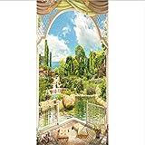 Etiqueta De La Puerta Piscina De Primavera Estilo Europeo Jardín Imagen Murales De Pared Pegatinas De Pared Papel Pintado Calcomanías Decoración del Hogar