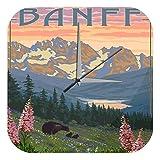 LEotiE SINCE 2004 Wanduhr mit geräuschlosem Uhrwerk Dekouhr Küchenuhr Baduhr Welt Reise Banff Kanada Acryl Wand Deko Uhr Retro
