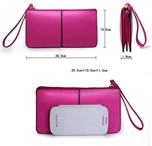 H&W Liscia Pelle Portafoglio Cinturino Polso Clutch Borsa Rosa Blu navy