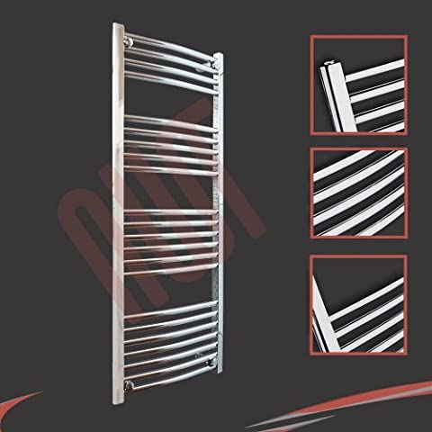 500mm(w) x 1200mm(h) Curved Chrome Heated Towel Rail, Radiator, Warmer