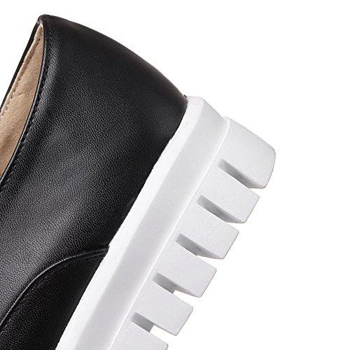 VogueZone009 Femme Lacet Rond à Talon Bas Pu Cuir Couleur Unie Chaussures Légeres Noir