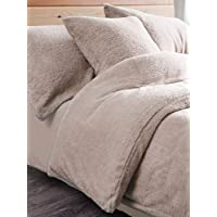 Artistic Fashionista Luxurious Quality & Extremely Soft and Fluffy TEDDY FLEECE Duvet/Quilt Cover With Matching Pillowcases Bedding Set (Beige, Single)