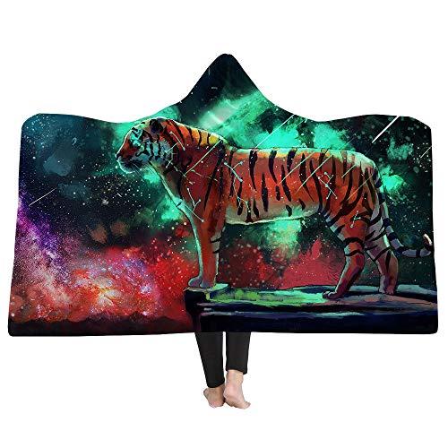 HHJJ Abstrakte Tiger 3D Mit Kapuze Decke Weiche Sherpa Fleece Decken Gemütliche Bademäntel Mantel Kapuze Baddecke mit Kapuze,B,Kids