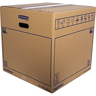 SmoothMove Heavy Duty Double Wall Cardboard Moving and Storage Boxes with Handles - 88.5 Litre, 44.5 x 44.5 x 44.5 cm (10 Pack)
