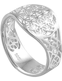 Vinani Ring Lebensblume Blume des Lebens Mandala glänzend offen Sterling Silber 925 Blume RLB