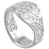 Vinani Ring Lebensblume Blume des Lebens Mandala glänzend offen Sterling Silber 925 Blume Größe 52 (16.6) RLB52