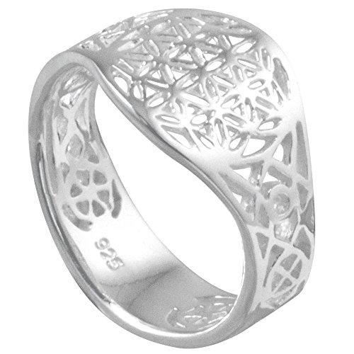 Vinani Ring Lebensblume Blume des Lebens Mandala glänzend offen Sterling Silber 925 Blume Größe 54 (17.2) RLB54
