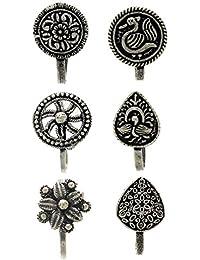 Anuradha Art Silver Finish Classy Designer Trendy Combo Press On Nose Pin Clip For Women/Girls