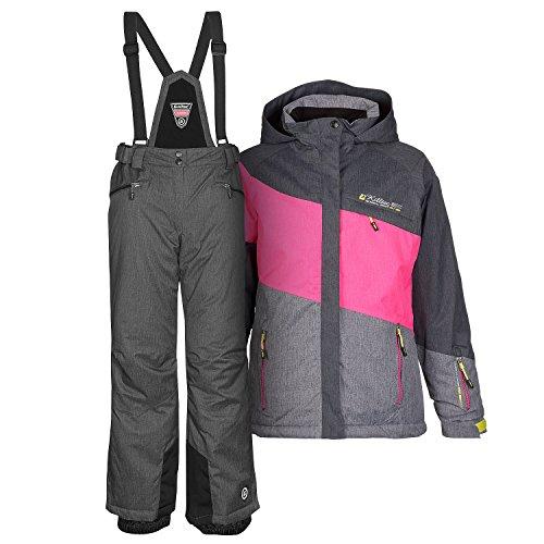 Skianzug Frauen Damenskianzug Skijacke Acelya pink + Skihose Hila grau – Gr. 40