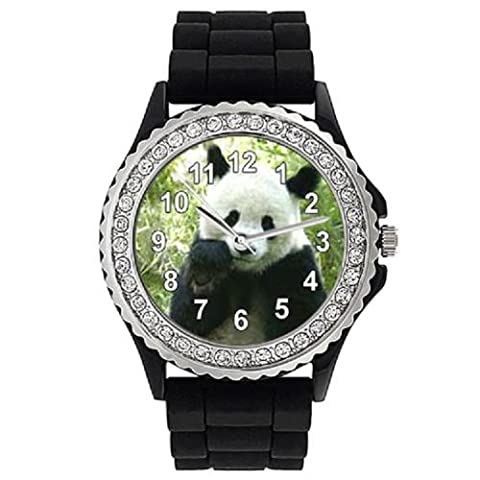 Panda - Strass - Montre Femme - Bracelet Silicone Noir