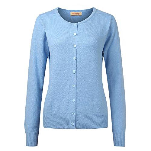 Panreddy Women's Wool Cashmere Classic Cardigan Sweater Sky blue M