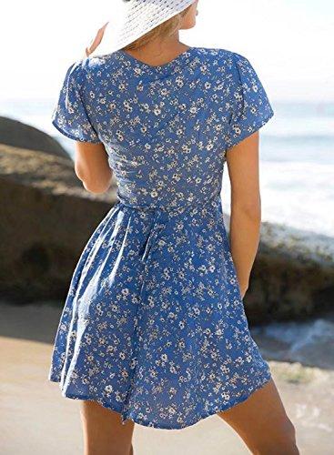 Futurino Damen Tiefer V-Ausschnitt Blumendruck Taille Gürtel Mini Sommer Kleid Blau