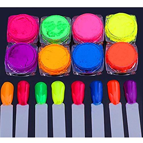 VANMO Neon Pigment Nagelpuder Staub Nagel Glitter Gradient Glitter irisierenden Acryl 8 Nagelpulver + 8 Gemälde(Mehrfarbig) -