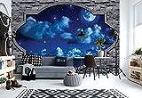 Wallsticker Warehouse Dreamy Nachthimmel Steinfensteransicht Vlies Fototapete Fotomural - Wandbild - Tapete - 254cm x 184cm / 2 Teilig - Gedrückt auf 130gsm Vlies - 2338V4 - Himmel & Wolken