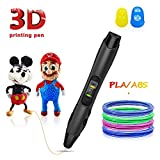 3D Pen,3D Printing Pen Competable with PLA & ABS Filaments with Speed and Temperature Adjustable,Non-Toxic-Won't Clog Design,Coming with Shovel and Stencil as Bonus(Black)