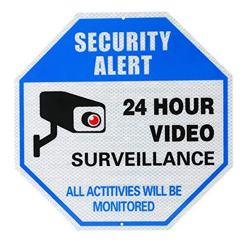 Videoüberwachungsschild, reflektierendes Warnschild, kein unbefugtes Betreten von Metall, 30 * 30 cm, 24 Stunden Aluminiumschild für den Innen- oder Außenbereich für Heimgeschäfts