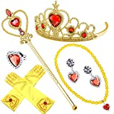 NNDOLL Accesorios Princesa de Hielo Belle Varita Conjunto de 6 Piezas 2-9 años, Dorado Amarillo