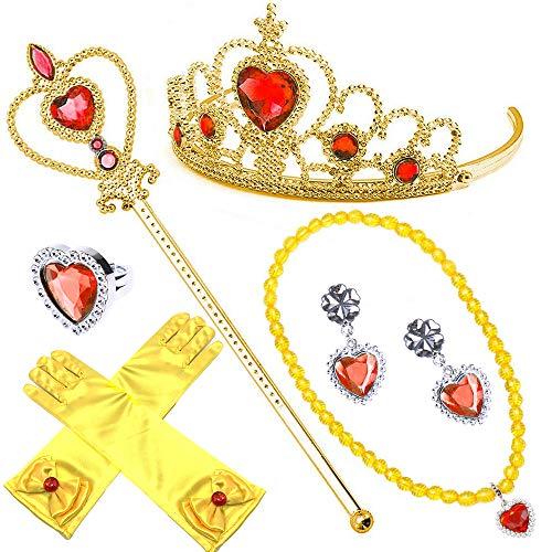 Nndoll set da principessa belle dei ghiacci, diadema, guanti, bacchetta magica e treccia a clip 2-9 anni giallo (oro 6pz)