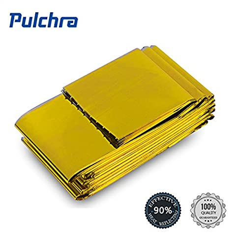 PULCHRA 6× Emergency Blanket Gold & Silver Space Thermal Rescue Blanket 83