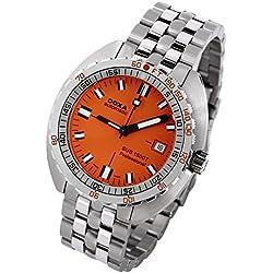 DOXA SUB 1500T Professional II Herren Automatik Uhr mit Orange Zifferblatt Analog-Anzeige und Silber Edelstahl Armband 881.10.351.10