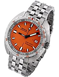 Doxa Sub 1500T Professional II Men's Automatic Watch with Orange Dial Analogue Display and Silver Stainless Steel Bracelet 881.10.351.10