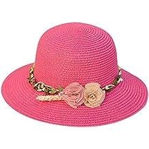 106bc8086cfd1 Winkey Sombrero de paja de playa para mujer Jazz Sombra Panamá Trilby  Fedora Sombrero con dos