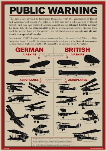 World War 1 Public Warning Aircraft Identificazione Poster - A3