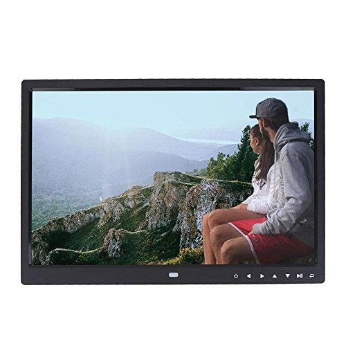 Asixx Digitaler Bilderrahmen, 15 Zoll Fotorahmen mit Halterung und Fernbedienung Unterstützt Musik- und Videoplayer, Wecker, Kalender usw(Schwarz)